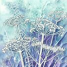 Frosted Seed Heads 3 of 3 (watercolour and mixed media on paper) by Lynne Henderson