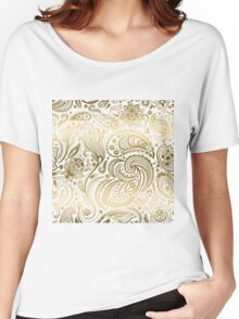 Faux Fold Floral Paisley Women's Relaxed Fit T-Shirt