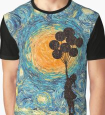 the balloons girl starry night Graphic T-Shirt