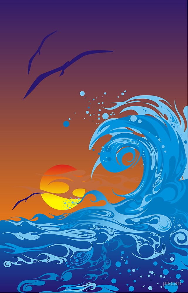 Sea sunset by piscari