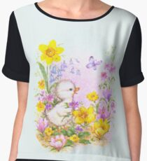 Cute Easter Duckling Chick and Spring Flowers Chiffon Top