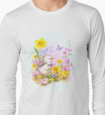 Cute Easter Duckling Chick and Spring Flowers Long Sleeve T-Shirt