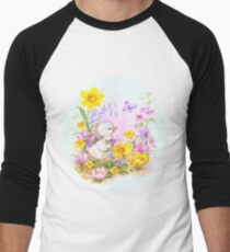 Cute Easter Duckling Chick and Spring Flowers Men's Baseball ¾ T-Shirt