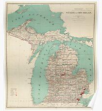 Vintage Karte von Michigan (1888) Poster