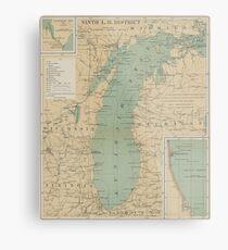 Vintage Lake Michigan Lighthouse Map (1898) Metal Print