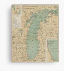 Vintage Lake Michigan Lighthouse Map (1898) Canvas Print