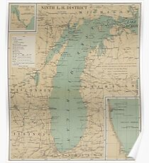 Map Of Michigan Posters Redbubble