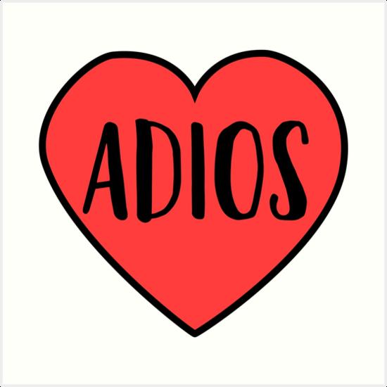 """Adios Heart Drawn T-Shirt & Stickers"