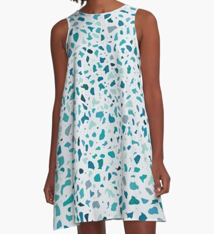 AFE Green Terrazzo Pattern A-Line Dress
