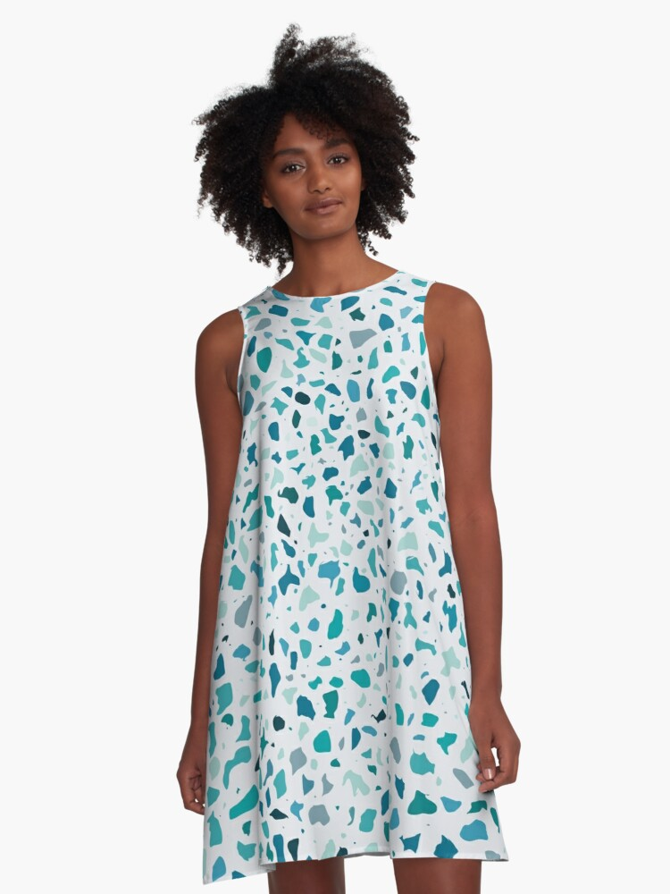 AFE Green Terrazzo Pattern A-Line Dress Front