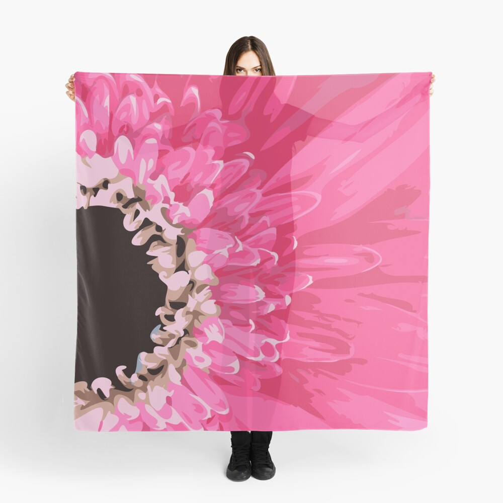 Pink Flower Petals Scarf Front