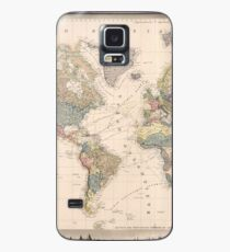 Vintage Map of The World (1852) Case/Skin for Samsung Galaxy