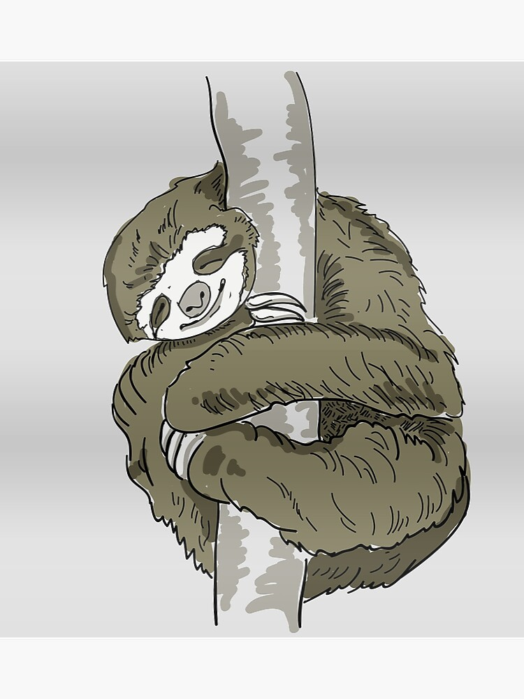 sloth slothanimal lazy slow nap sleeping slow chill out chilling sloth  hugging nerd sleep gamer tired sleepy | Poster