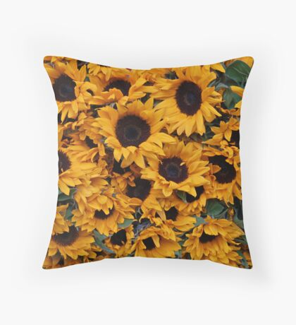 Crowded sunflowers Throw Pillow