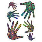 «Impresión de manos, colores Hippie, estampado de hippie, High Five, impresión colorida» de RomanDigitalArt