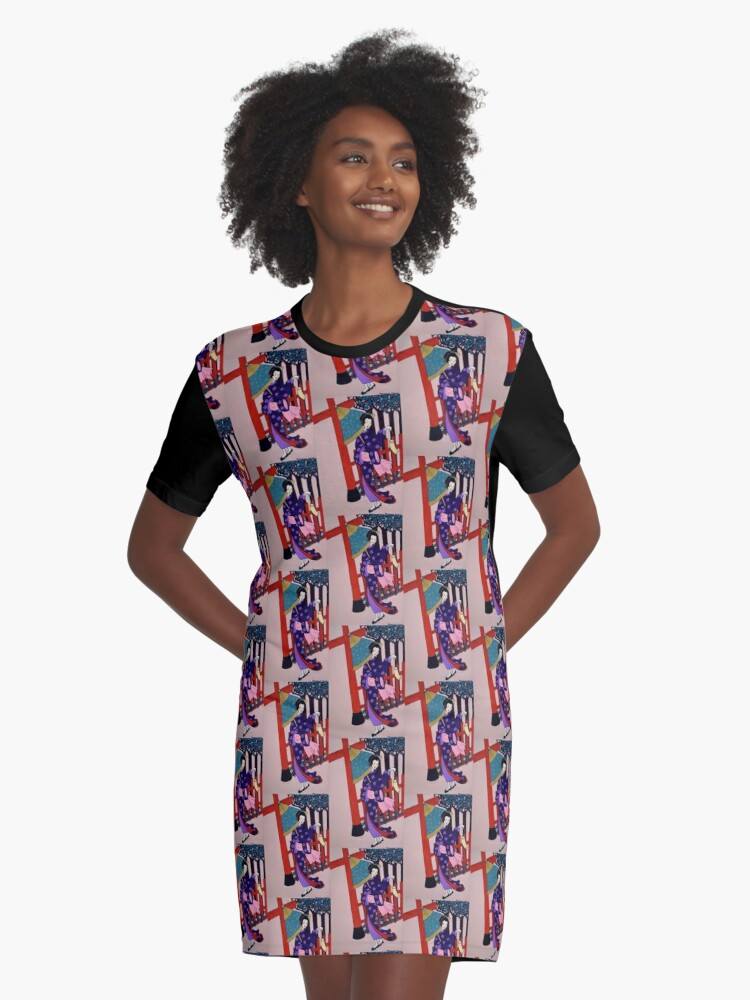 Windy Day Graphic T-Shirt Dress Front