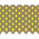 retro sixties inspired fan pattern in yellow and violet by VrijFormaat