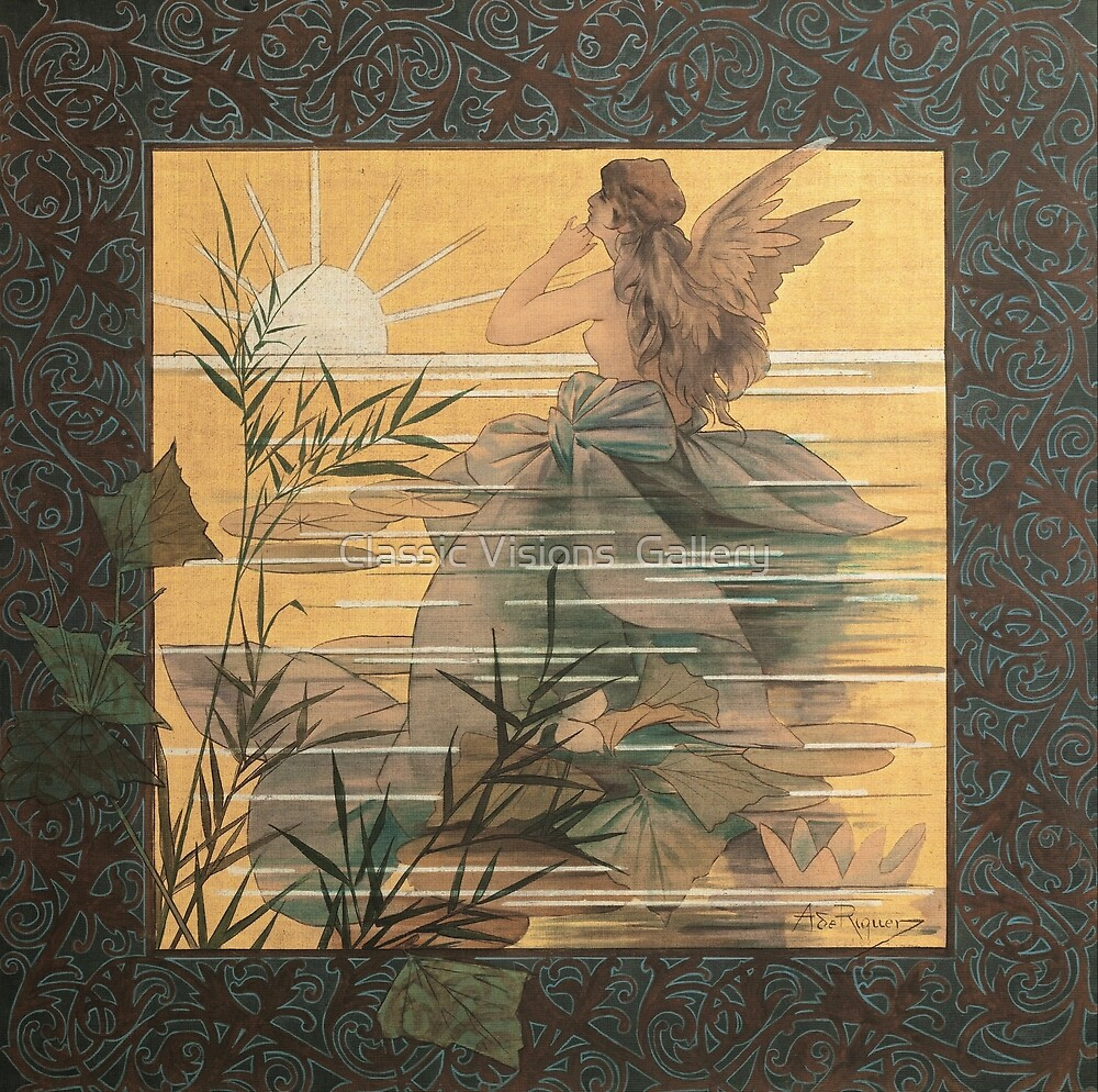 'Winged Nymph at Sunrise' by Alexandre de Riquer (Reproduction) by Roz Abellera