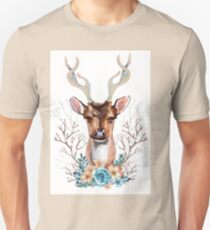 watercolour flower deer Unisex T-Shirt