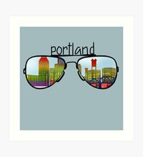 Portland skyline design with sunglasses Art Print