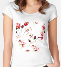Watercolour poppy garden  Women's Fitted Scoop T-Shirt