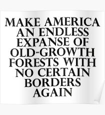 Make America an Endless Expanse of Old-Growth Forests with No Certain Borders Again Poster