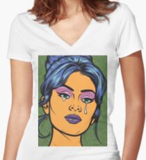 Blue Hair Crying Comic Girl Women's Fitted V-Neck T-Shirt