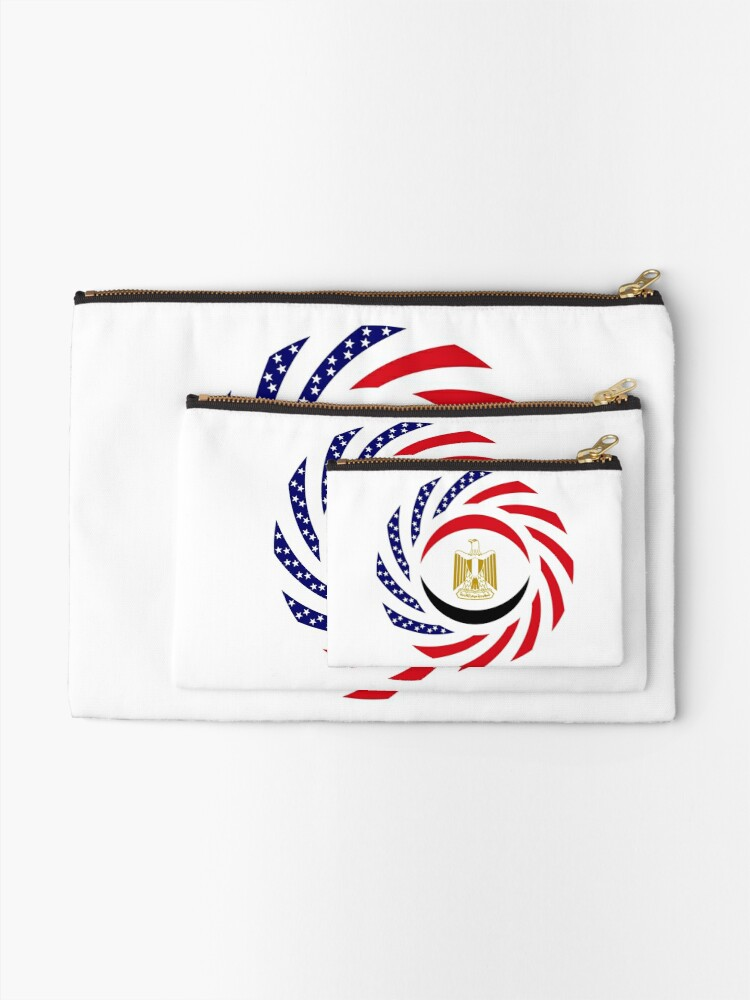 Alternate view of Egyptian American Multinational Patriot Flag Series Zipper Pouch