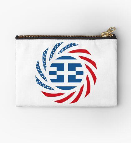 Greek American Multinational Patriot Flag Series Zipper Pouch