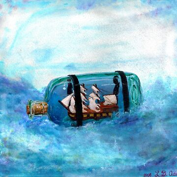 Digital Print of an Original Art Piece Painting done by Loren B Trute Ship In A Bottle by INFPMama