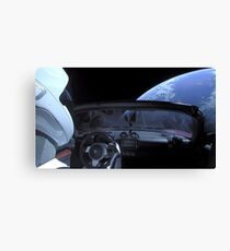 SpaceX Starman - DON'T PANIC! Canvas Print