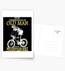 Never Underestimate An Old Man With A Mountain Bike Postcards