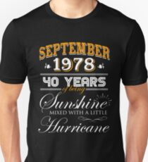 40th Birthday Gifts - 40th Wedding Anniversary Memorable Gifts - September 1978 Unisex T-Shirt