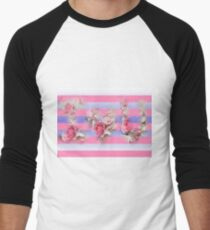 I Love You Pink Stripes Men's Baseball ¾ T-Shirt