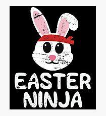 Funny Easter Shirts For Boys & Kids Cute Easter Bunny Ninja Photographic Print