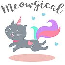 Meowgical Grey Unicorn Cat with Rainbow Tail by catloversaus