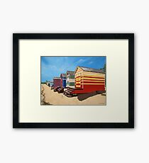 Brighton beach boxes midday Framed Print
