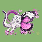 """The 'Mommy Melen"""" Muted Green Purple  Elephant by theblackdavinci"""