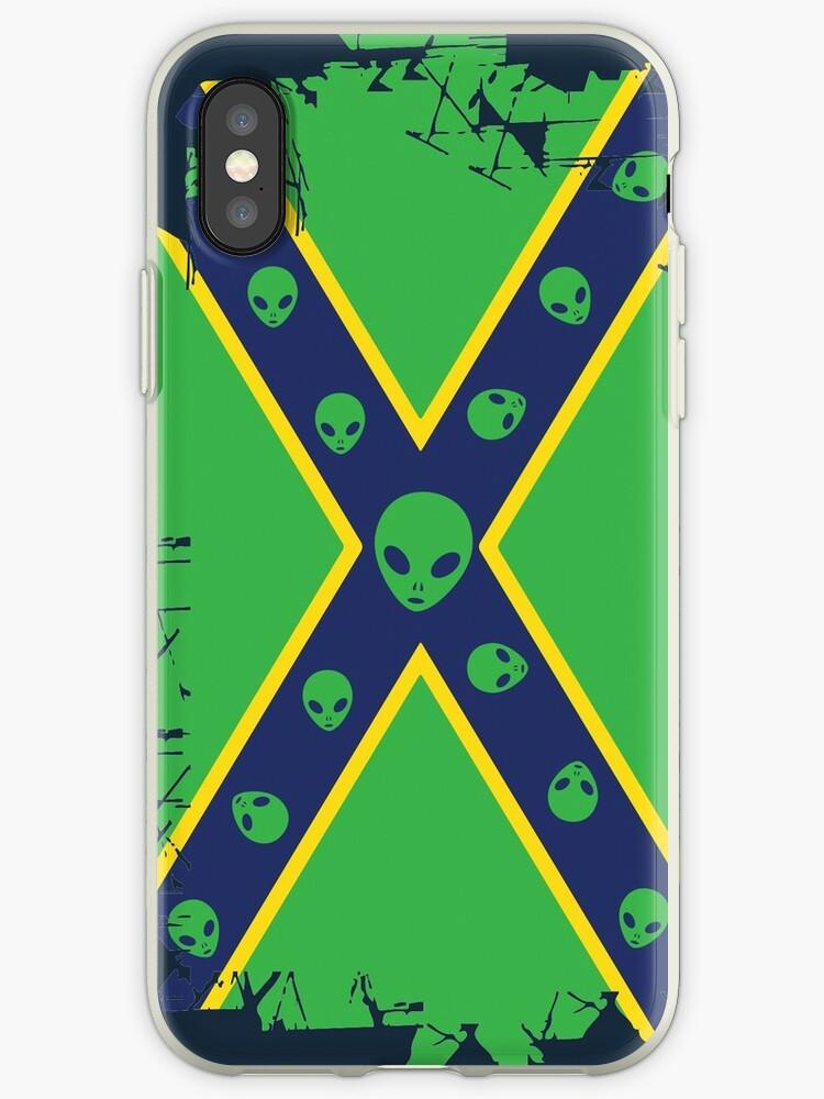 'Confederate Flag Alien ' iPhone Case by quark