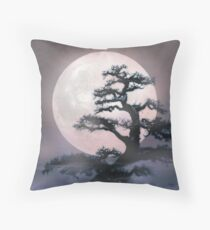 Moonlight on Bonsai Elm Throw Pillow
