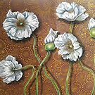 White Poppies on Brown by Cherie Roe Dirksen