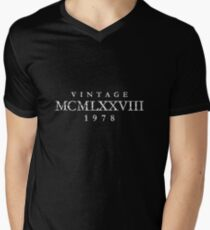 Vintage MCMLXXVIII 1978 Birthday & Anniversary (Ancient White) V-Neck T-Shirt