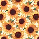 Happy Orange Sunflowers by micklyn