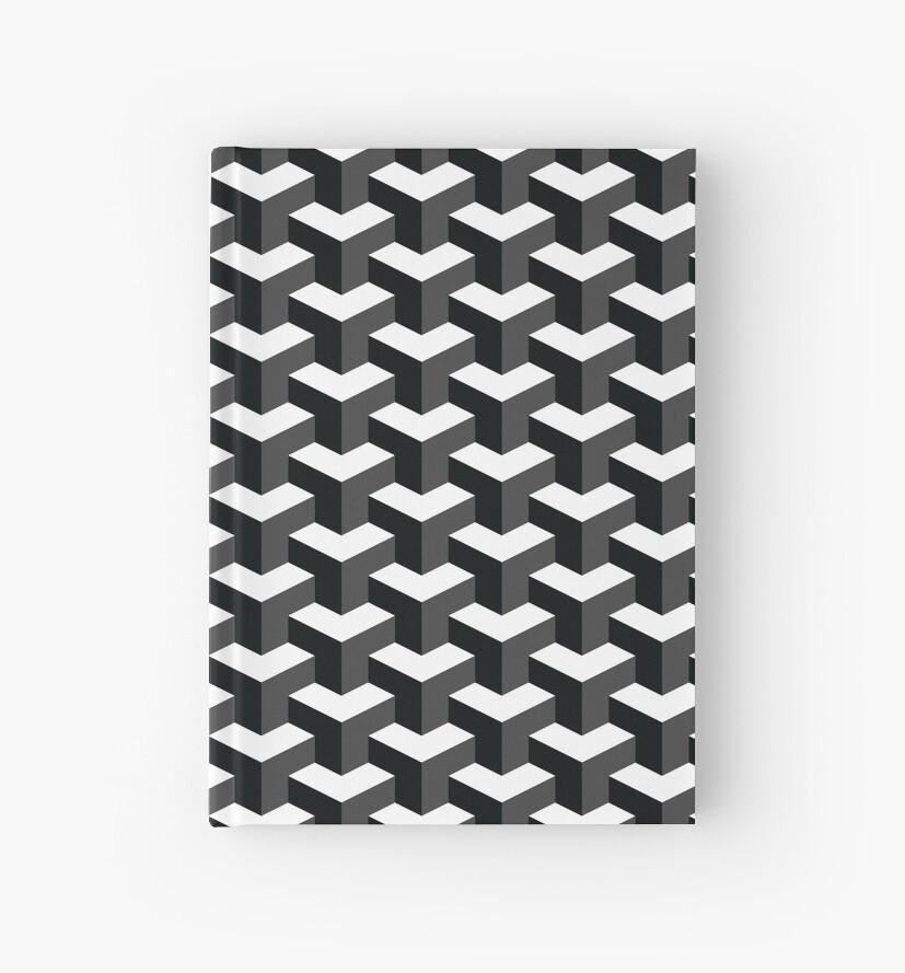 Schwarzweiss Effekt Des Würfel Muster 3d Notizbücher Von Fakemirror