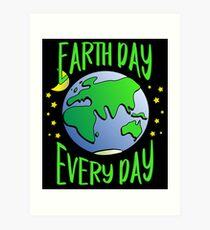 Cute Earth Day Hippie Earth in Space #earthday Art Print