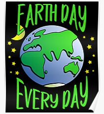 Cute Earth Day Hippie Earth in Space #earthday Poster
