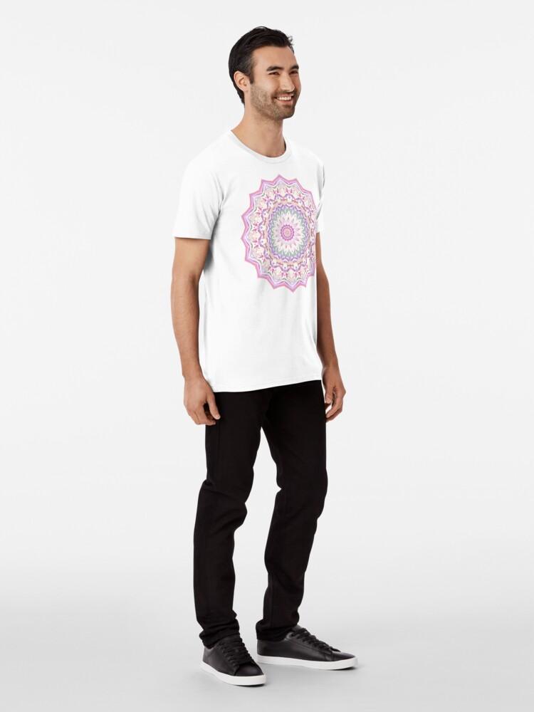Alternate view of Calypso Mandala in Pastel Purple, Pink, Green, and White Premium T-Shirt
