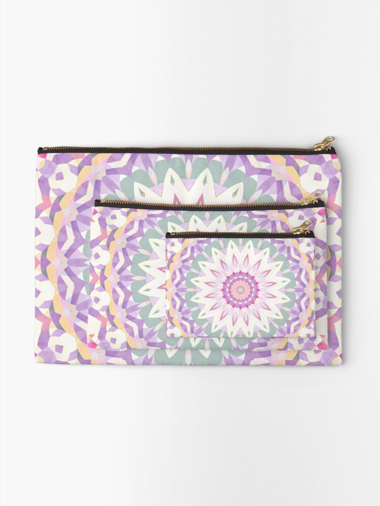 Alternate view of Calypso Mandala in Pastel Purple, Pink, Green, and White Zipper Pouch
