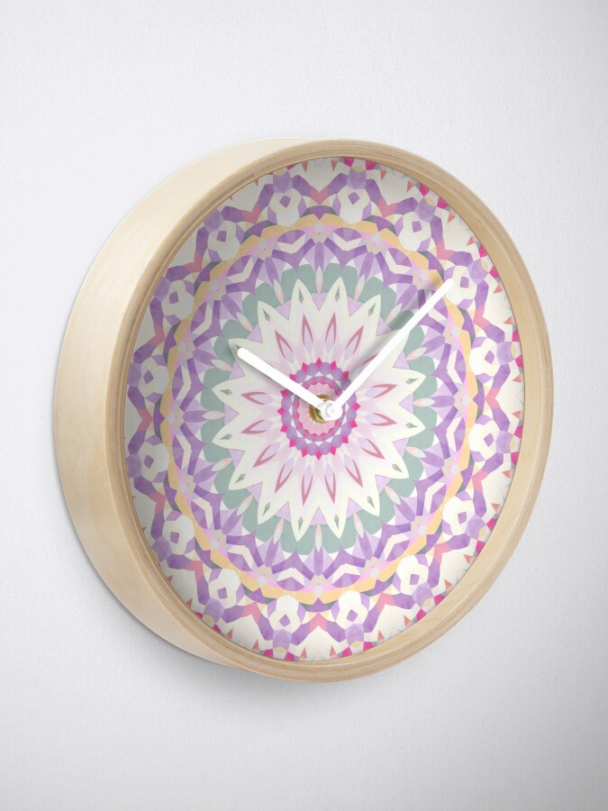 Alternate view of Calypso Mandala in Pastel Purple, Pink, Green, and White Clock