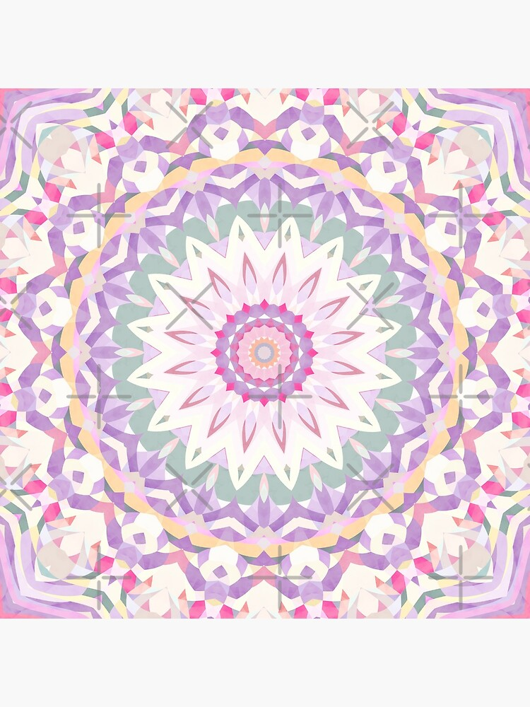 Calypso Mandala in Pastel Purple, Pink, Green, and White by kellydietrich